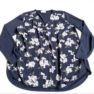 Loft blue floral chiffon long sleeve large